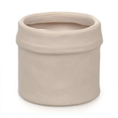 Cachepô Border Bege em Cerâmica - 8x7 cm