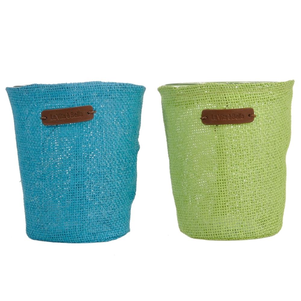 Conjunto de Cachepôs La Vita è Bella - 2 Peças - Verde e Azul em Vidro - 16x14 cm
