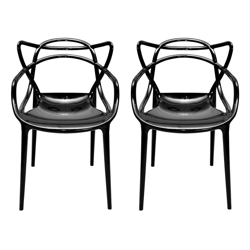 Conjunto de Cadeiras Greec Preta - 2 Peças - em Policarbonato - 82x53 cm