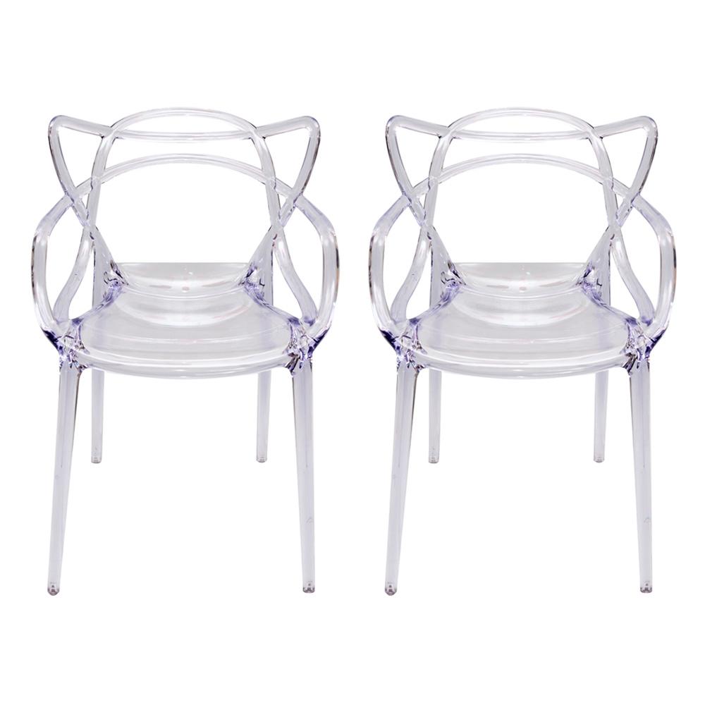 Conjunto de Cadeiras Greec Transparente - 2 Peças - em Policarbonato - 82x53 cm
