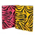 Conjunto Cadernos de Anotações Zebrinha - 2 Peças - Amarelo/Rosa Capa em Couro Sintético - 15x12 cm