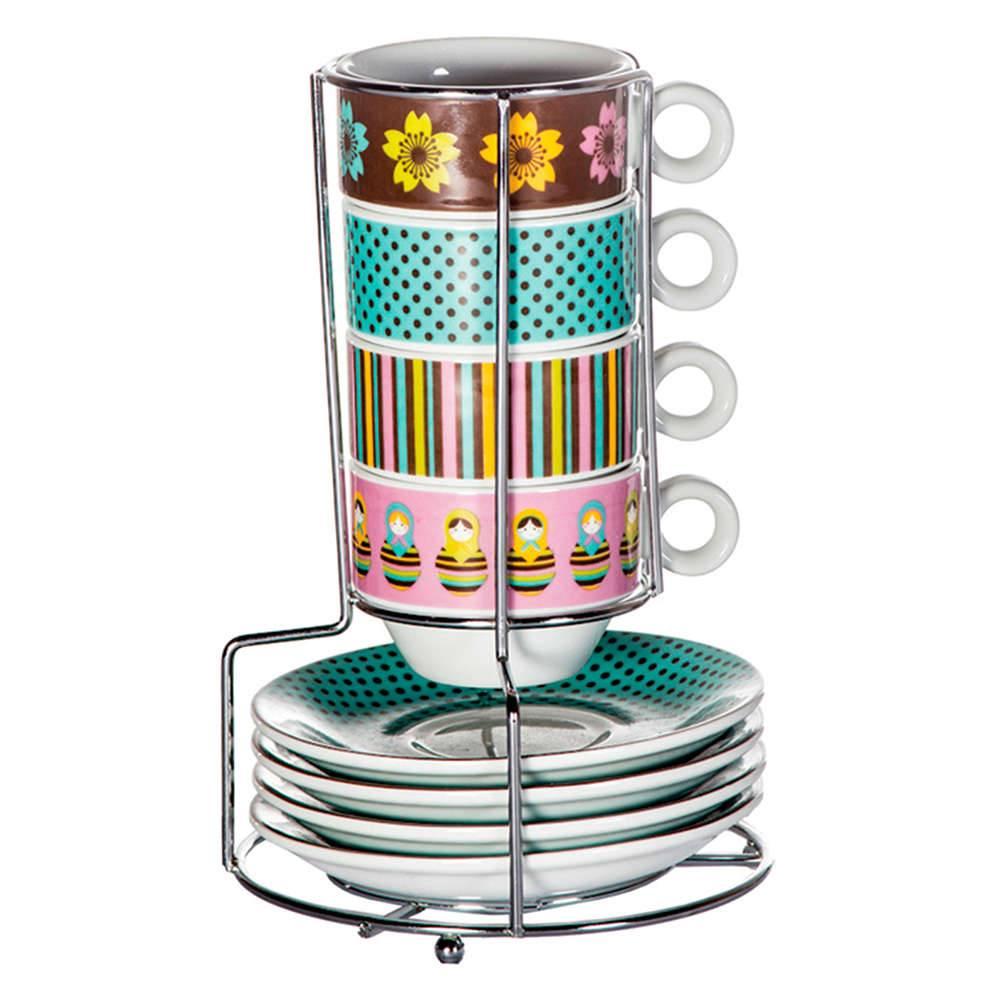 Conjunto para Café 4 Xícaras com Pires e Suporte Matrioska Colorido em Porcelana - 100 ml - Urban - 7x5 cm