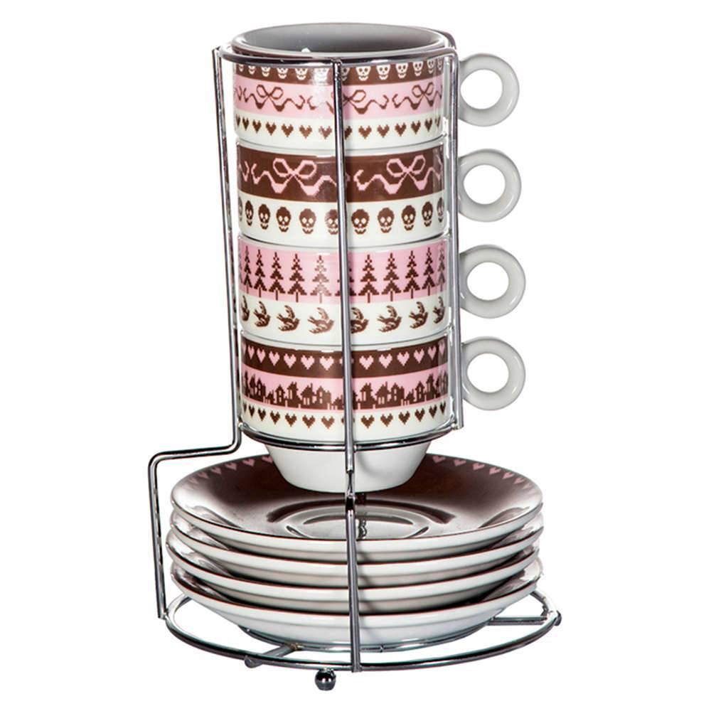 Conjunto para Café 4 Xícaras com Pires e Suporte Skull Rosa e Marrom em Porcelana - 100 ml - Urban - 7x5 cm
