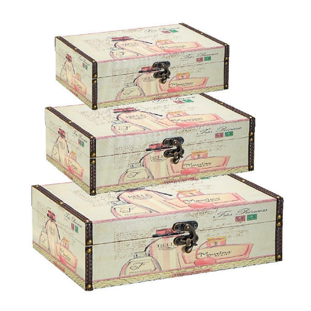Conjunto de Caixas - 3 Peças - Perfumes Bege em MDF - 30x20 cm