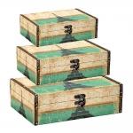 Conjunto de Caixas - 3 Peças - Paris Verde e Bege em MDF