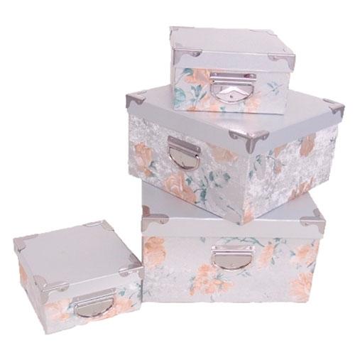 Conjunto de Caixas - 4 Peças - Estampa Floral - 32x18 cm