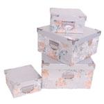 Conjunto de Caixas - 4 Peças - Estampa Floral