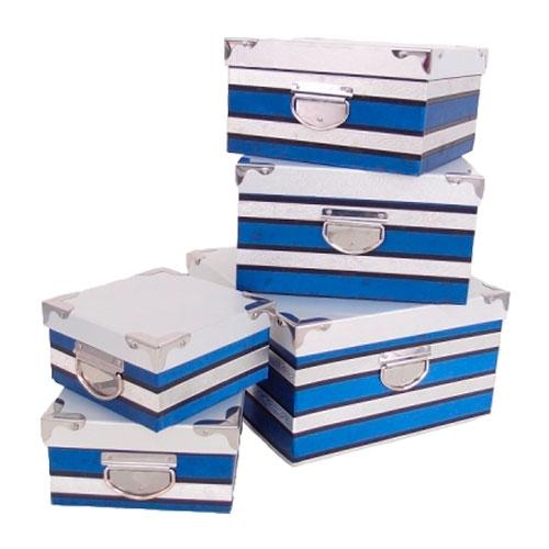 Conjunto de Caixas - 5 Peças - Azul - 32x18 cm