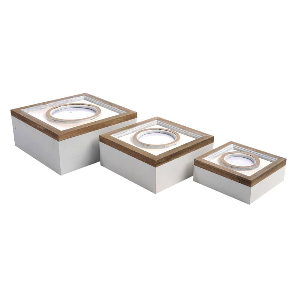 Conjunto de Caixas Círculo Branco e Marrom - 3 Peças - em Madeira - 24x24 cm