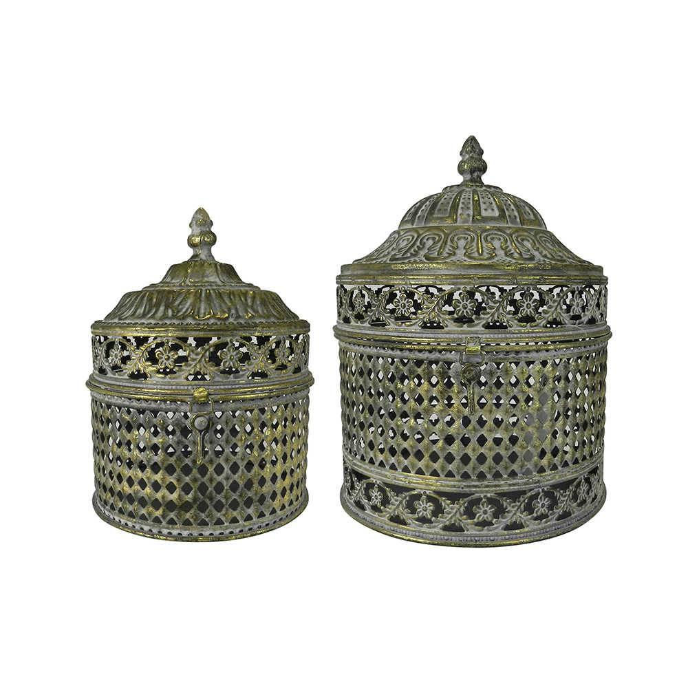 Conjunto de Caixas Decorativas Raja Dourada em Metal - 25x20 cm