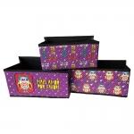 Conjunto de Caixas Organizadoras - 3 Peças - Corujinha Mais Amor Roxo em Tecido e Courino - 23x22 cm