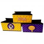 Conjunto de Caixas Organizadoras - 3 Peças - Dog Pug Amarela e Roxa em Courino - 23x20 cm