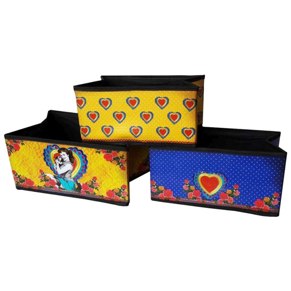 Conjunto de Caixas Organizadoras - 3 Peças - Pin Up Amarelo em Tecido - 30x15 cm