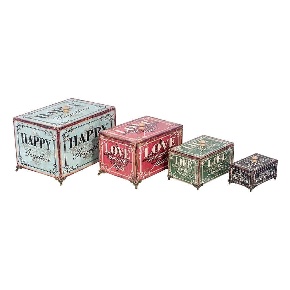 Conjunto Caixas Organizadoras - 4 Peças - Happy Love Life Forever Oldway em Madeira - 30x21 cm