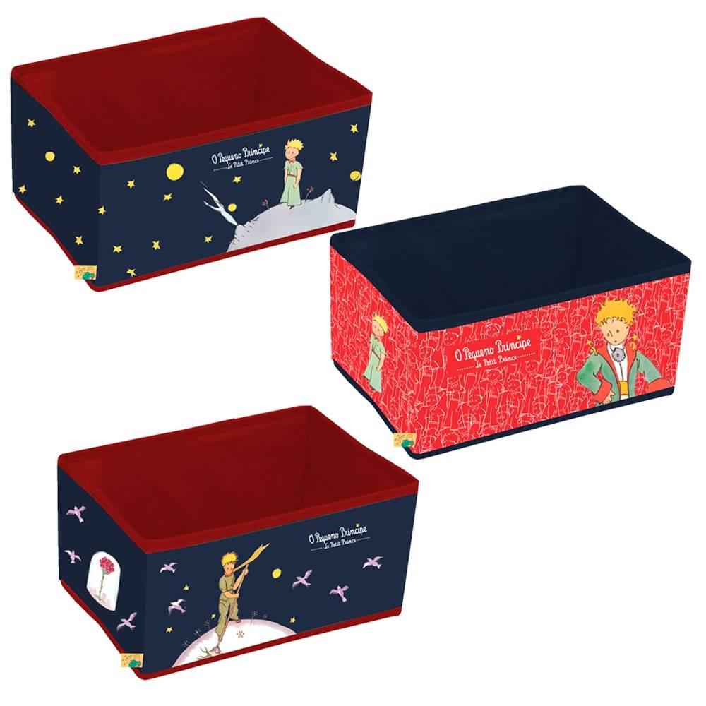Conjunto de Caixas Organizadoras Clássicas O Pequeno Príncipe em PU - 32x22 cm