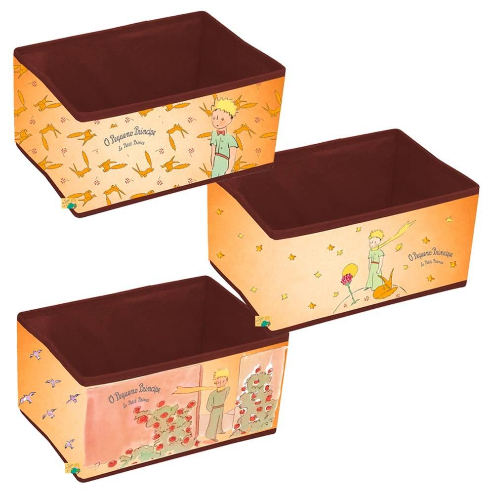 Conjunto de Caixas Organizadoras Vintage O Pequeno Príncipe Bege em PU - 32x22 cm