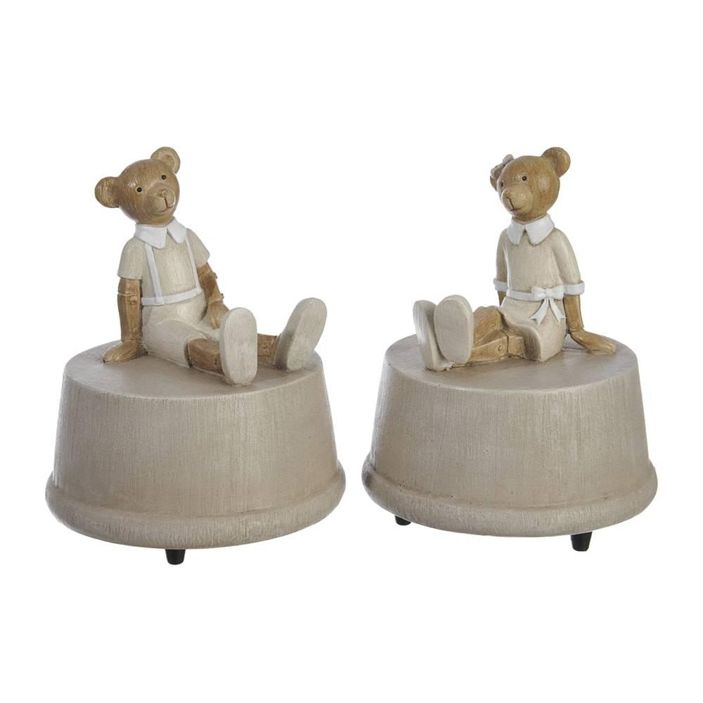 Conjunto Caixas Porta-Joias - 2 Peças - Casal de Ursinhos Creme - 11x9 cm