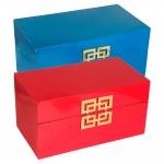 Conjunto Caixas Princess - 2 Peças - Azul/Vermelho em Madeira - 34x20 cm