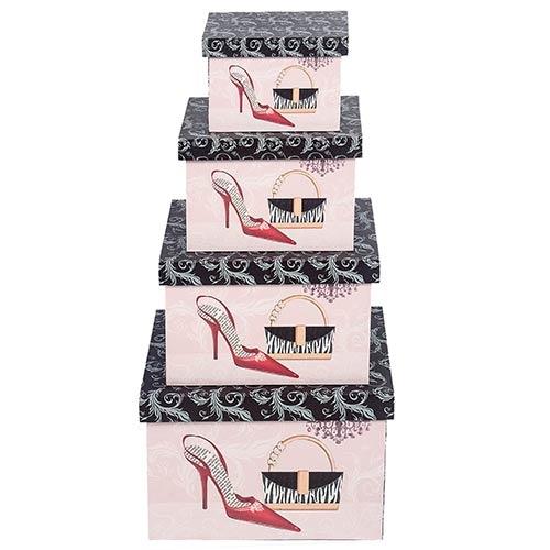 Conjunto Caixas Retangular Shoes e Bag 4 peças Fullway - 40x30 cm