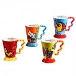 Conjunto de Canecas - 4 Peças - Alegria Pop em Cerâmica - 15x14 cm