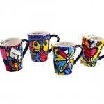 Conjunto de Canecas - 4 Peças - Pop Romero em Cerâmica - 13x12 cm
