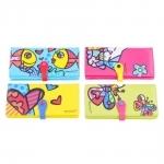 Conjunto de Carteiras Multicoloridas - 4 Peças - Romero Britto - em Courino - 19x10 cm