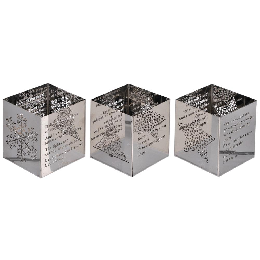 Conjunto de Castiçais - 3 Peças - Quadrados Natalinos Prata em Metal - 6,5x6 cm