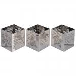 Conjunto de Castiçais Quadrados Natalinos Prata em Metal