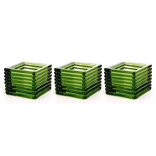 Conjunto de Castiçais - 3 Peças - Verde em Vidro - 6x5 cm
