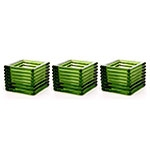 Conjunto de Castiçais - 3 Peças -  Verde em Vidro