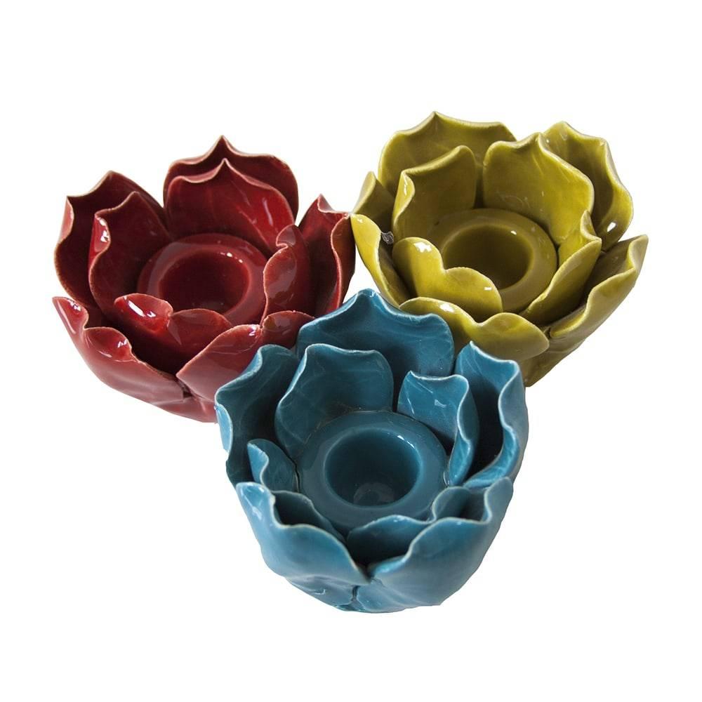 Conjunto de Castiçais Flores - 3 Peças - Coloridas em Cerâmica - 8x6 cm