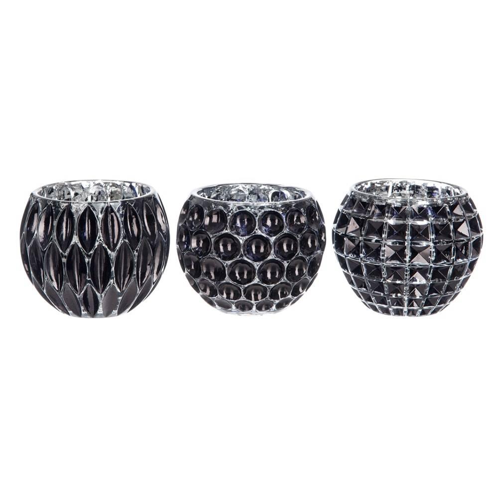 Conjunto de Castiçais Geométricos - 3 Peças - Pretos em Vidro - 10x8,5 cm