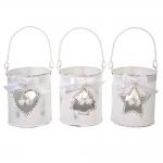 Conjunto de Castiçais Natalinos Branco - 3 Peças - em Metal