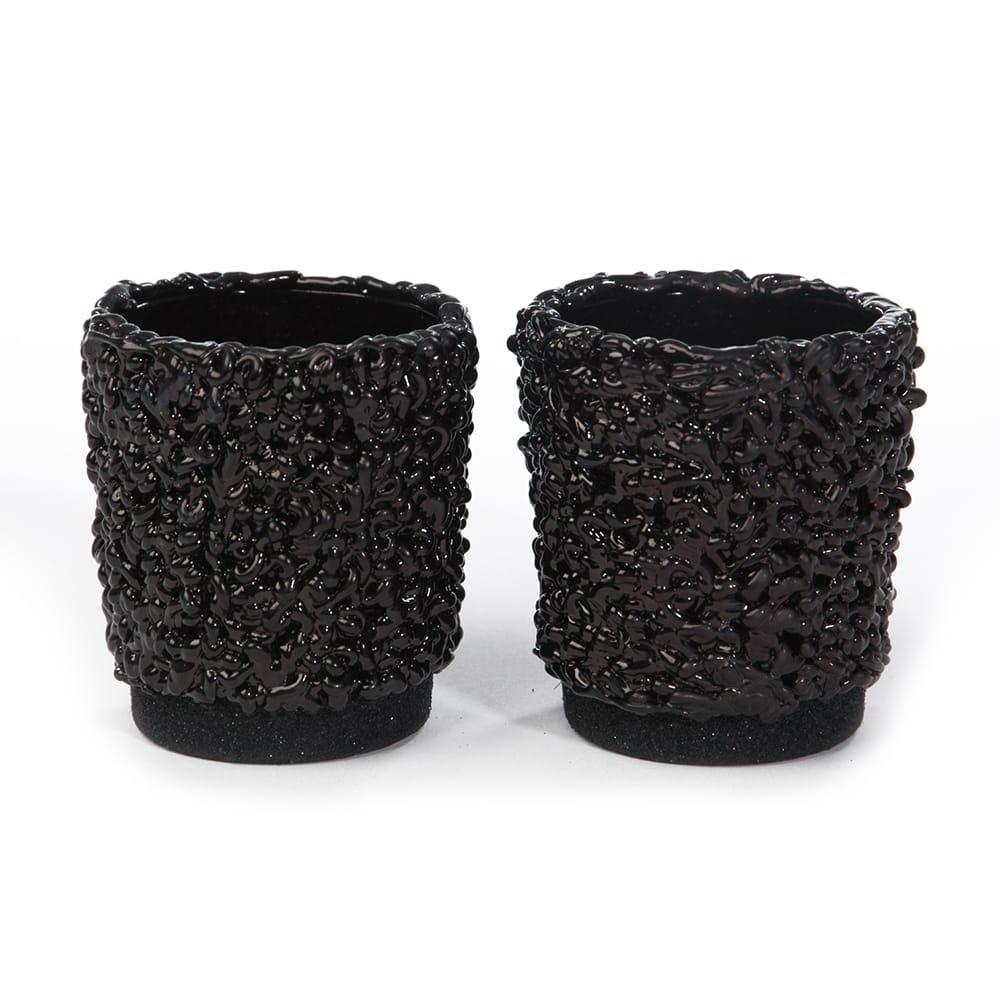 Conjunto de Castiçais Pretos - 2 Peças - em Vidro Trabalhado - 13x7 cm
