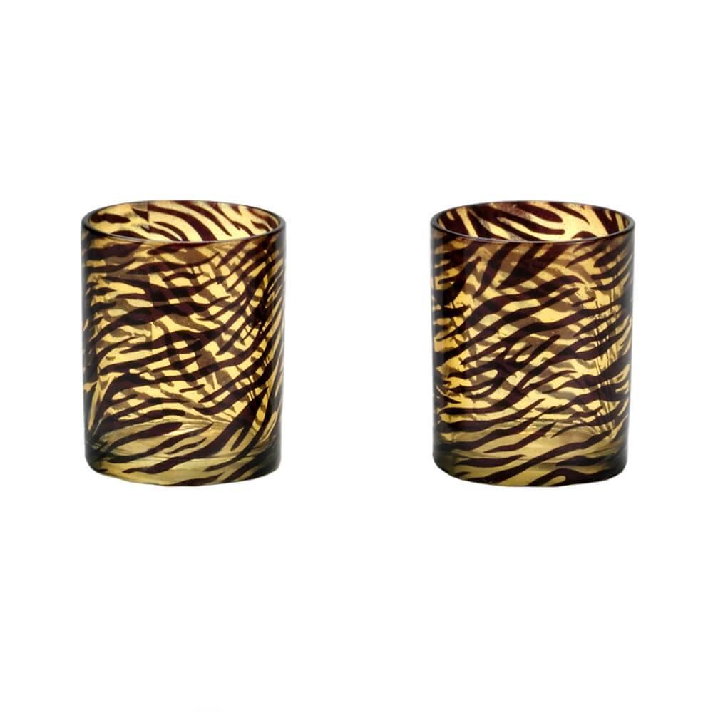 Conjunto de Castiçais Savage 2 Peças em Vidro - Urban - 7x6 cm