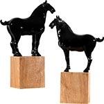 Conjunto de Cavalos Preto em Cerâmica - 30x21x8 cm