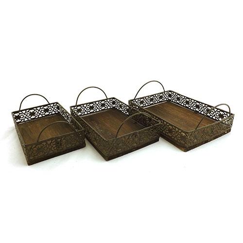 Conjunto de Cestos Arabescos Preto - Metal e Madeira - 22x26x27 cm
