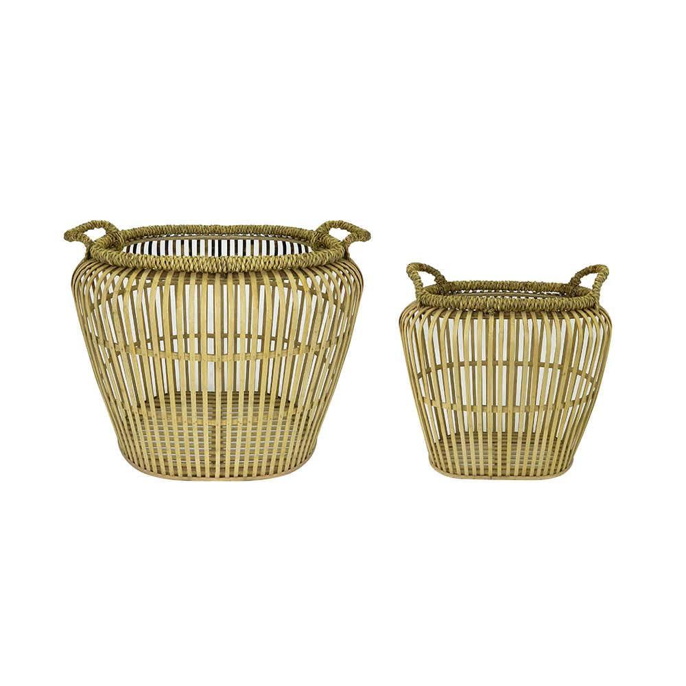 Conjunto de Cestos Thai Bege Vazado em Bambu - 48,5x39 cm
