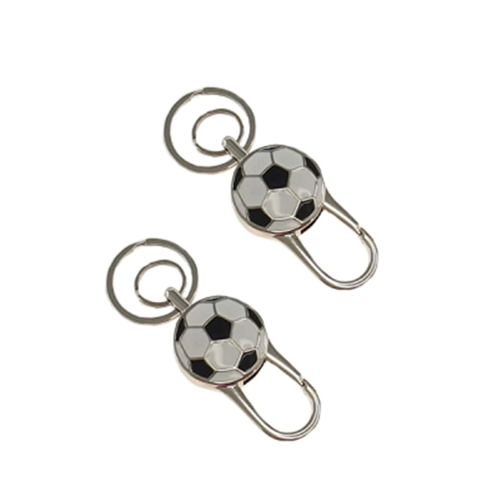 Conjunto de Chaveiros Bola de Futebol Preto e Branco - 2 Peças - em Metal - 10x4 cm