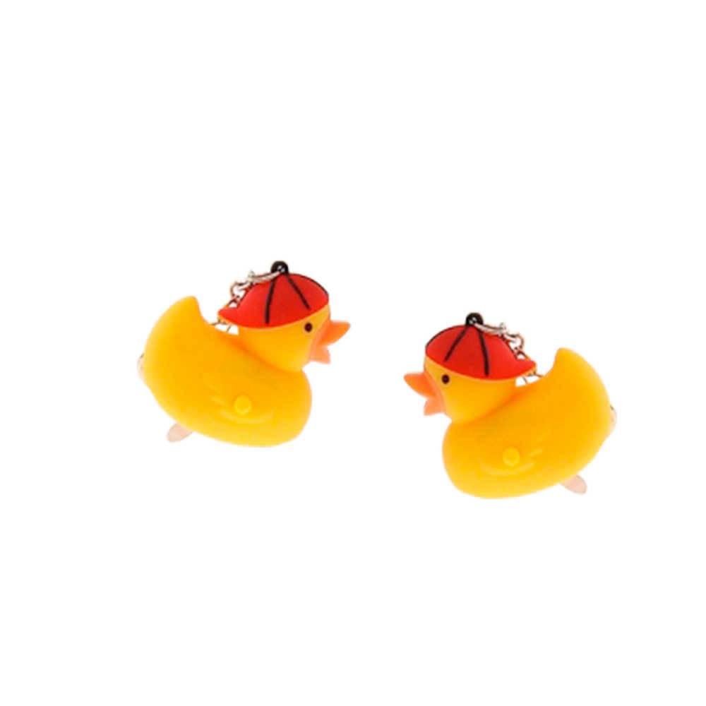 Conjunto de Chaveiros Patinho com Boné - 2 Peças - Amarelo - 4x4 cm