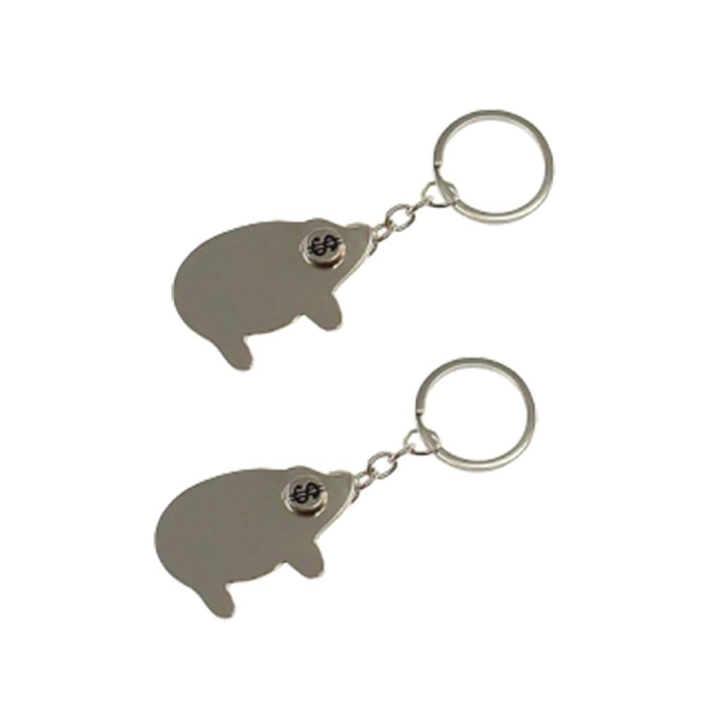 Conjunto de Chaveiros Pig - 2 Peças - Prata em Metal - 11x4 cm
