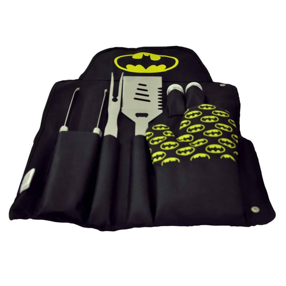 Conjunto para Churrasco DC Comics Batman Logo Preto e Amarelo em Algodão e Metal - Urban - 61x43 cm