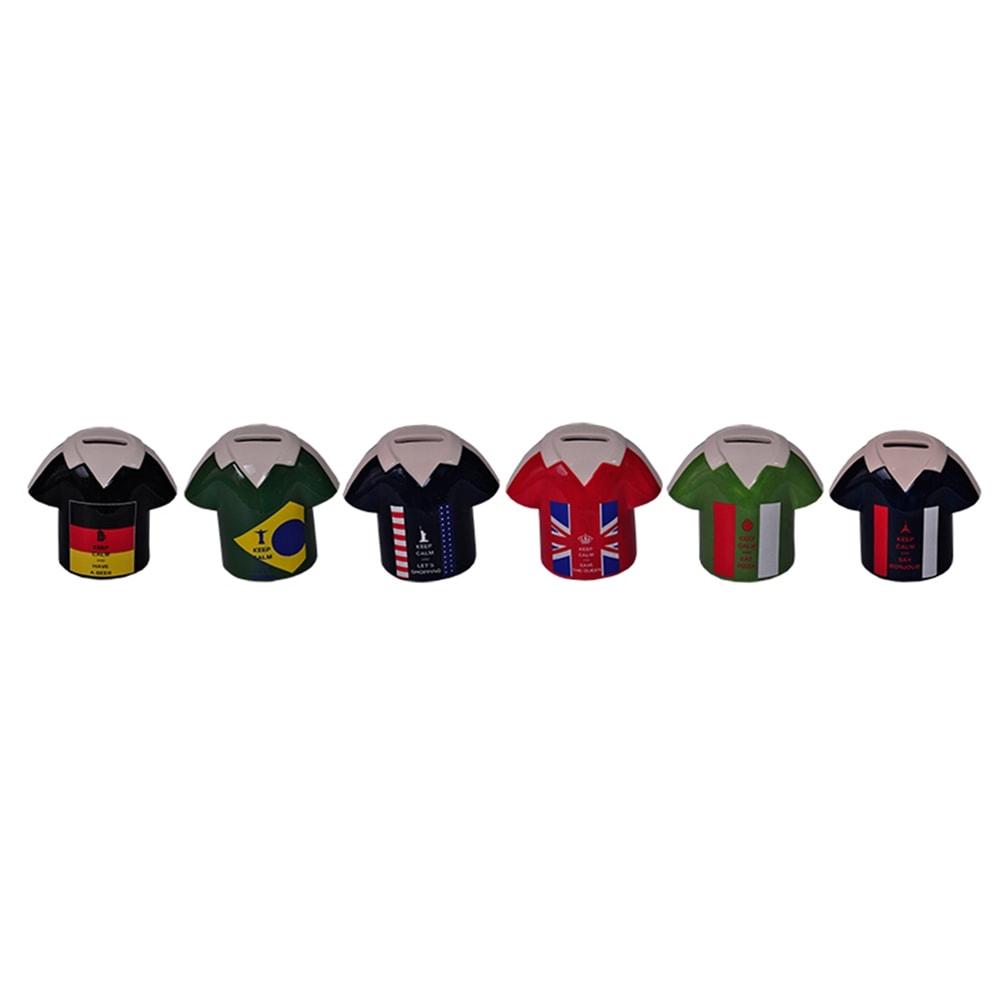 Conjunto Cofres Camisas da Copa - 6 Peças - Coloridos em Cerâmica - 13x12 cm