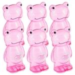 Conjunto Cofres Decorativos Sapinhos Rosa - 6 Peças - em Acrílico - 19x12 cm