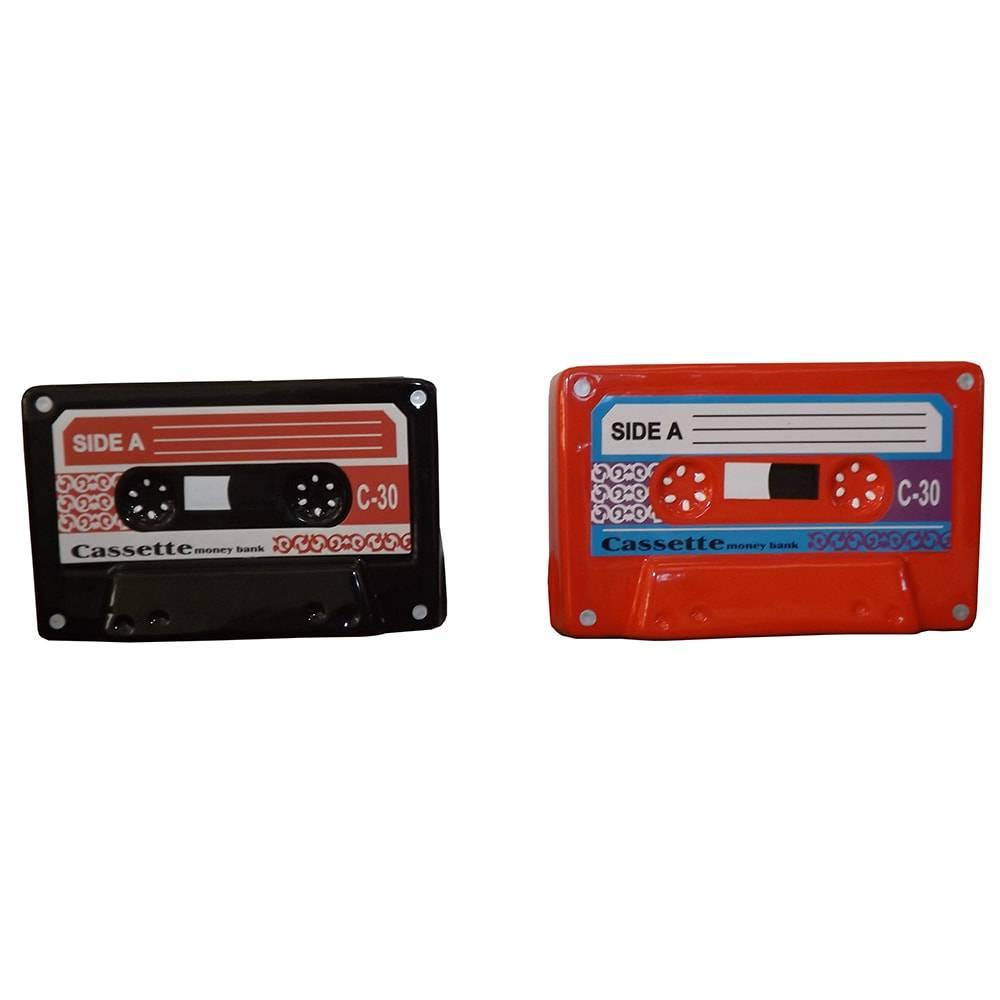 Conjunto de Cofres Fitas Cassetes Vermelha e Preta em Cerâmica - 16x10 cm