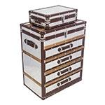 Conjunto Cômoda Baú 4 Gavetas em Alumínio e Madeira Fullway - 80x65 cm