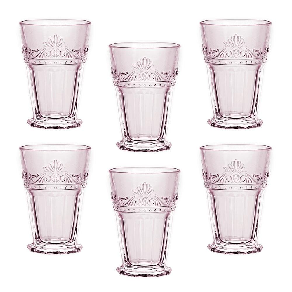 Conjunto de Copos Quartzo Rosa - 6 Peças - em Vidro - 12,5x8,5 cm