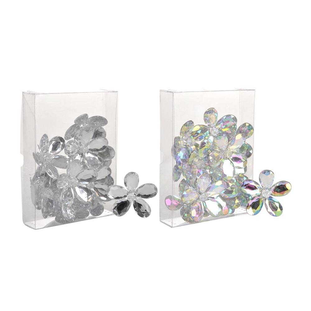Conjunto de Enfeites Flor Prata e Furta-cor - 24 Peças - em Polipropileno - 6,2x6,2 cm