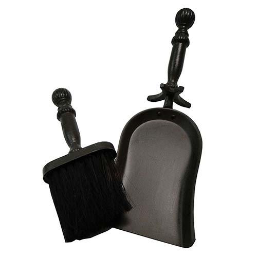 Conjunto Escova e Pá Rústico para Lareira Preto em Ferro Fundido Fullway - 37x14 cm