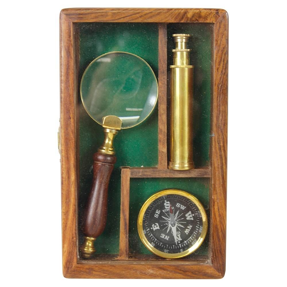 Conjunto para Escritório c/ Lupa, Bússola e Binóculo em Bronze e Madeira Oldway - 19x11 cm